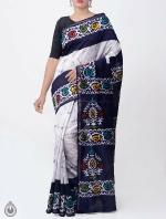 Shop Online Ivory Batik Printed Chanderi Sico Saree -UNM36054