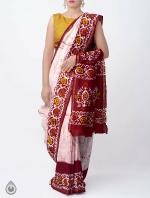 Shop Online Ivory Batik Printed Chanderi Sico Saree -UNM36053