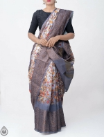 Shop Online for Grey Kalamkari Printed Banarasi Saree -UNM39109