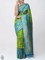 Shop Online for Green Kalamkari Printed Banarasi Saree with Tassels-UNM39095