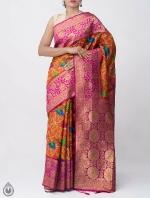 Shop Online for Orange Kalamkari Printed Banarasi Saree with Tassels-UNM39094