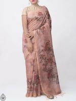 Shop Online for Pink Kalamkari Printed Chanderi Sico Saree with Tassels-UNM39367