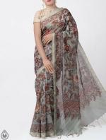 Shop Online for Green Kalamkari Printed Chanderi Sico Saree with Tassels-UNM39365
