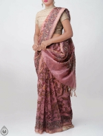 Shop Online for Pink Kalamkari Printed Chanderi Sico Saree with Tassels-UNM39362