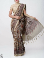Shop Online for Green Kalamkari Printed Chanderi Sico Saree with Tassels-UNM39361