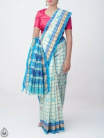 Shop Online Pure Mangalagiri Cotton Checks Saree with Tassels_4