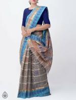 Shop Online Pure Mangalagiri Cotton Checks Saree with Tassels_5