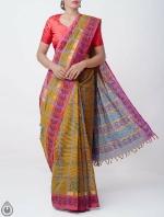Shop Online Pure Mangalagiri Cotton Checks Saree with Tassels_6