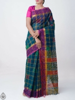 Shop Online Pure Mangalagiri Cotton Checks Saree with Tassels_7
