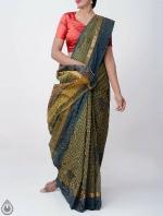 Shop Online Pure Mangalagiri Cotton Checks Saree with Tassels_8