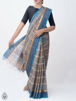 Shop Online Pure Mangalagiri Cotton Checks Saree with Tassels_9